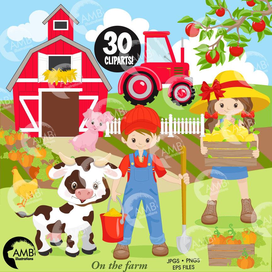 Farm boy and girl. Barn clipart farmyard