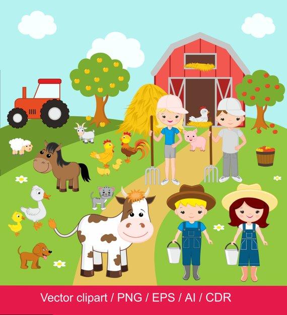 Farm digital clip art. Barn clipart farmyard