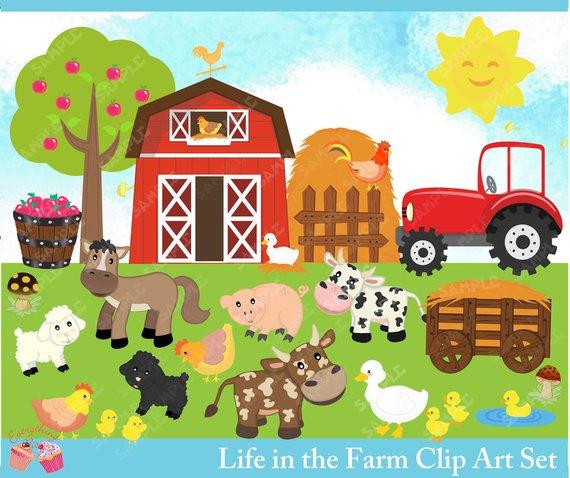 Barn clipart farmyard. Life in the farm
