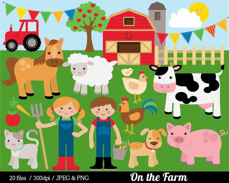 Farm animal clip art. Barn clipart farmyard