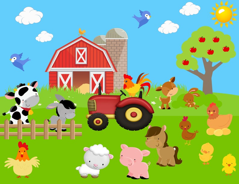 Barn clipart farmyard. Farm animals cow sheep