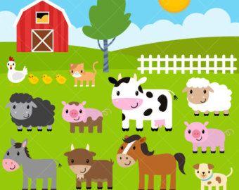 Farm baby animals cute. Barn clipart farmyard