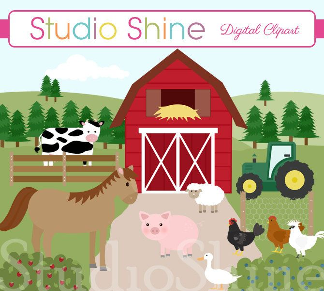 Barn clipart farmyard. Farm friends cute barnyard