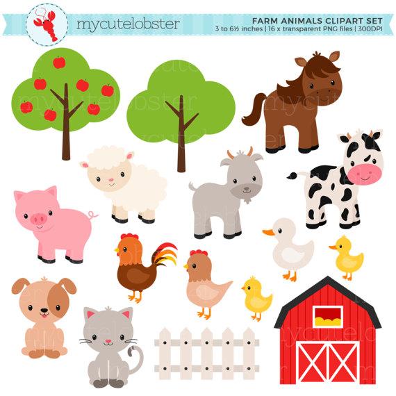 Animal clipart barnyard. Farm animals set barn