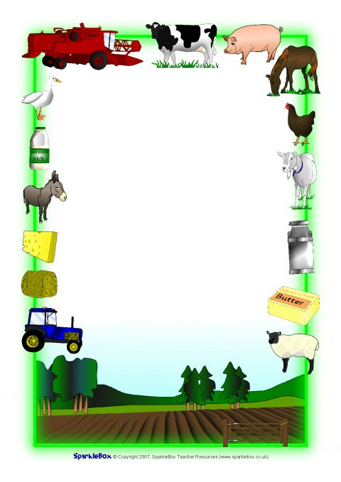 Farm animals primary teaching. Barn clipart frame