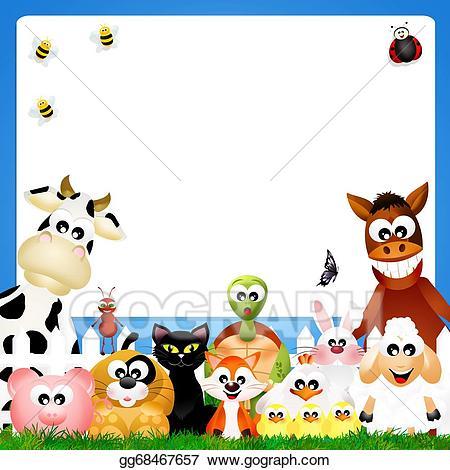 Barn clipart frame. Stock illustration farm animals
