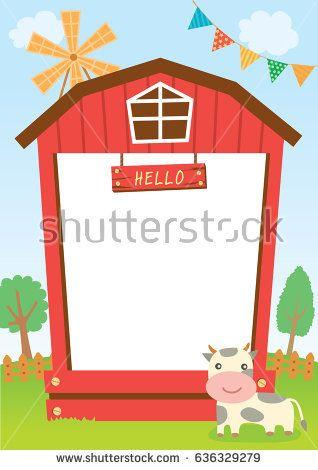 Barn clipart frame. Cute design for template
