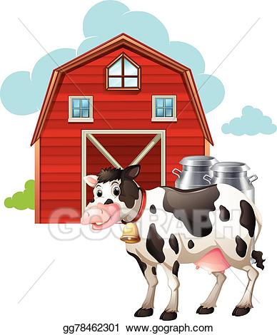 Vector art and drawing. Cow clipart barn