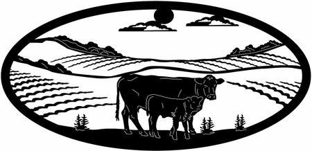 Farm scene silhouette at. Barn clipart gate