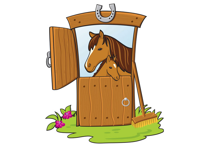 Wall sticker cute pony. Barn clipart horse stable