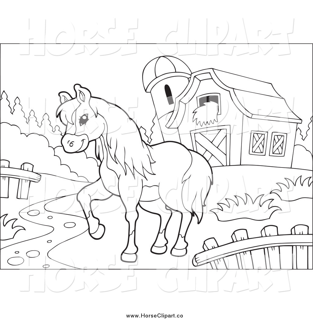 Barn clipart horse stable. Black and white