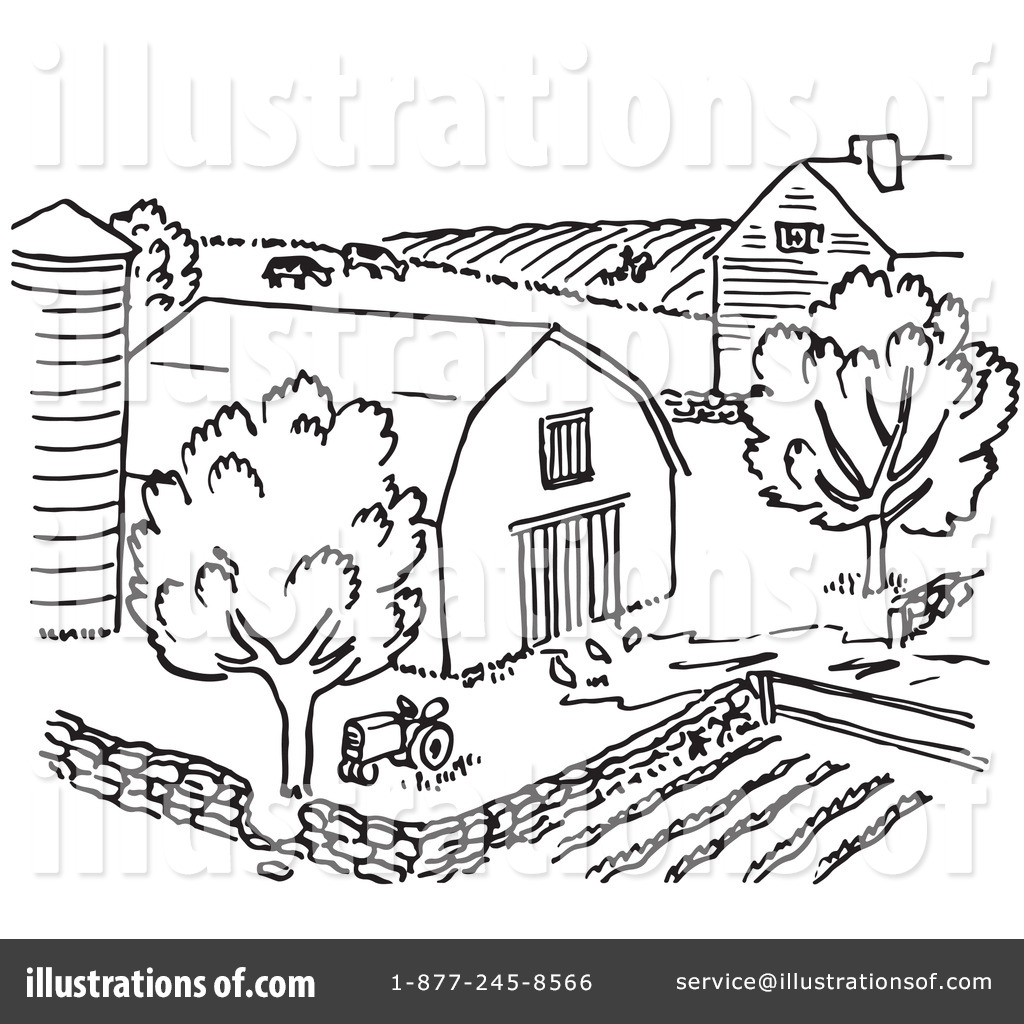 Farm illustration by picsburg. Barn clipart line drawing