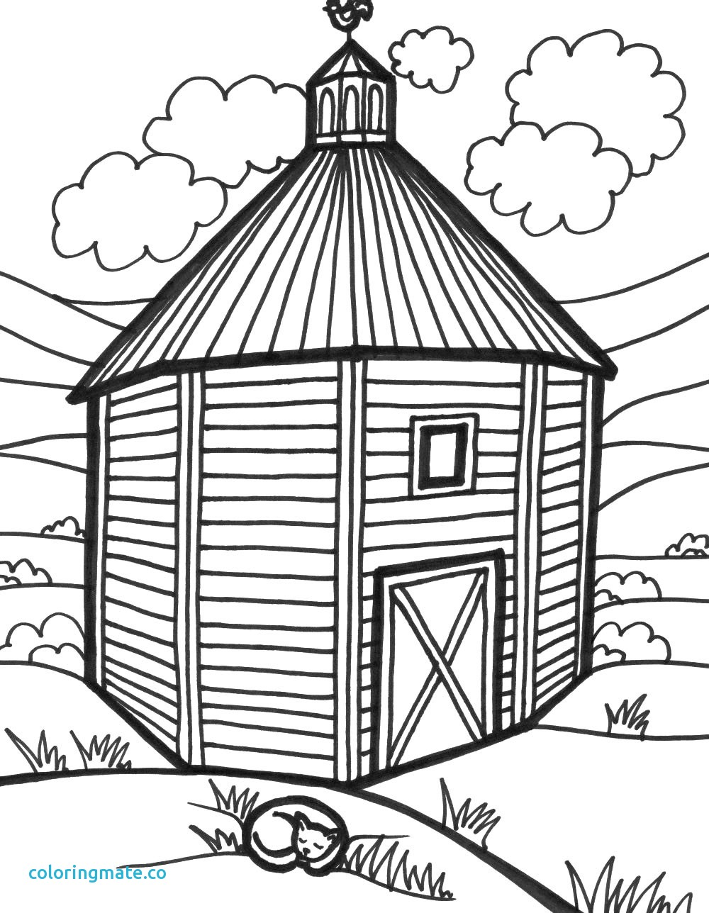 Barn clipart line drawing. Simple at getdrawings com