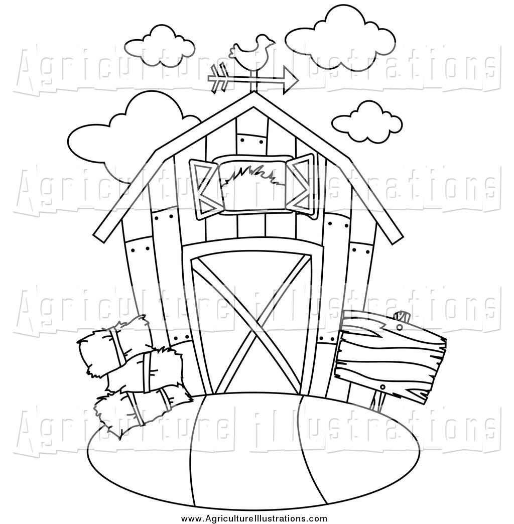 Barn clipart line drawing. Agriculture of a black