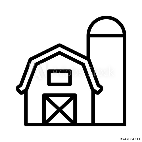 Barn clipart line drawing. Prairie house with grain