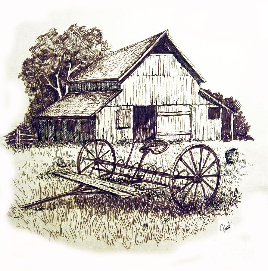 Barn clipart old barn. Pen and ink drawing