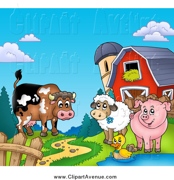 Avenue of a happy. Barn clipart pig