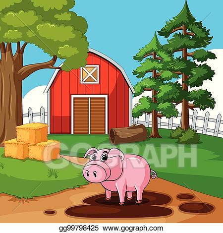 Vector art cute playing. Barn clipart pig
