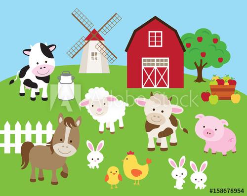 Vector illustration of farm. Barn clipart pig