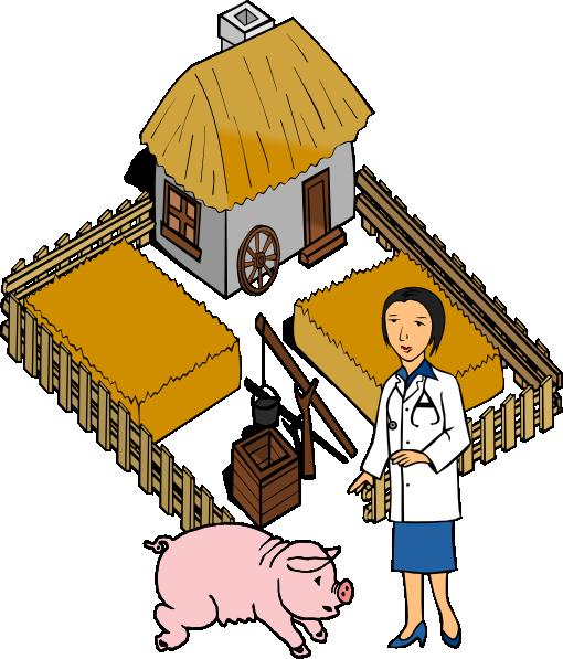 Barn clipart pig. Doctor on a farm