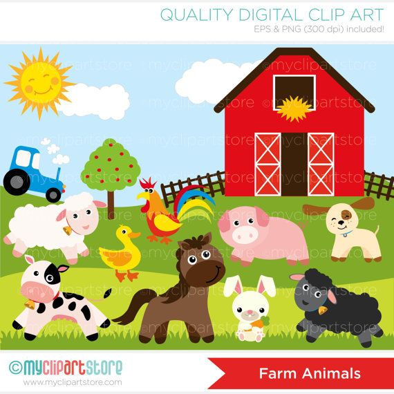 Farm animals red tractor. Barn clipart pig