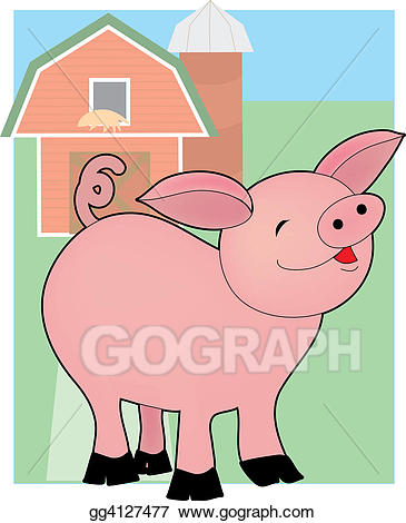 Barn clipart pig. Stock illustration baby on