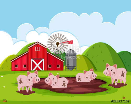 Barn clipart pig. A farm landscape stock