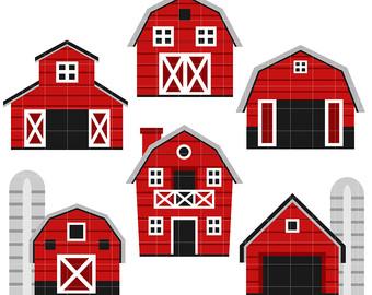 Barn clipart ranch house. Etsy houses digital clip