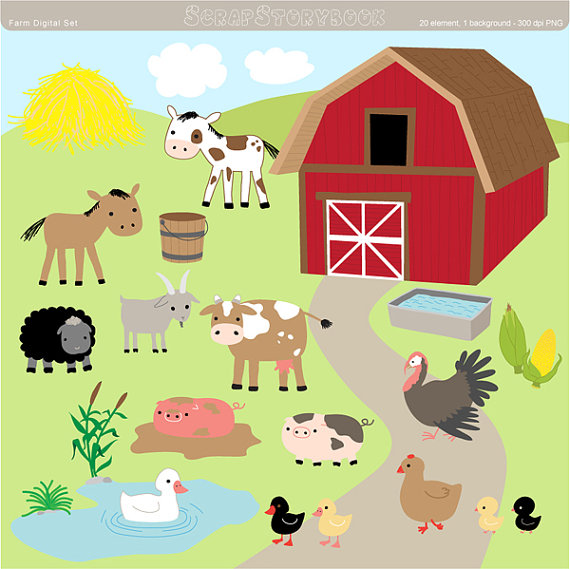 Farm digital set dpi. Barn clipart ranch house