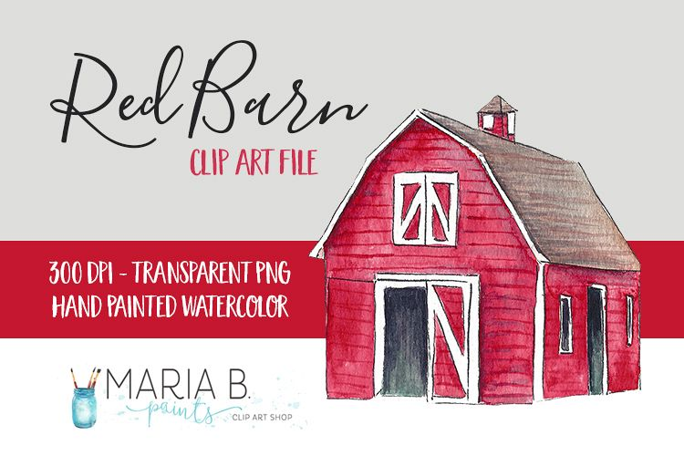 Watercolor clip art png. Barn clipart red barn
