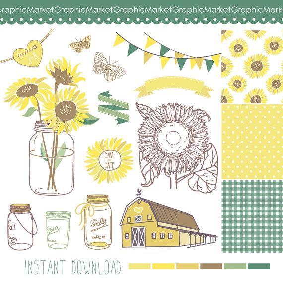 Sunflowers mason jars and. Barn clipart rustic barn