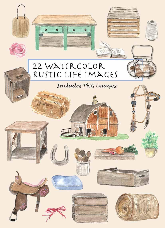 Clip art watercolor vintage. Barn clipart rustic barn