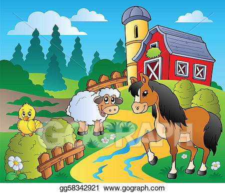 Barn clipart scene. Vector stock country with