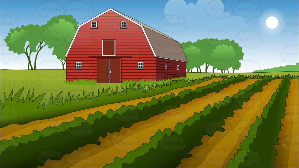 Agriculture clipart animated. Farm field and barn