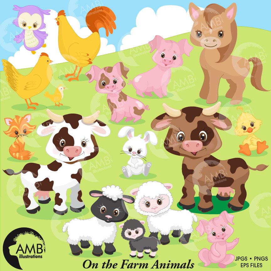 Farm animals cow rooster. Barn clipart sheep