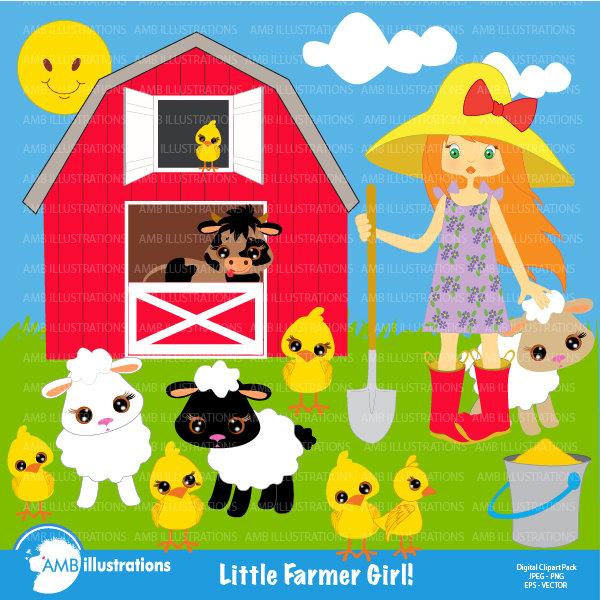 Farm animals farmer sheep. Clipart barn