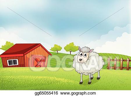 Barn clipart sheep. Clip art vector a