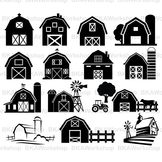 Svg vector . Barn clipart silhouette