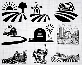 Barn clipart silhouette. Etsy farm svg bundle
