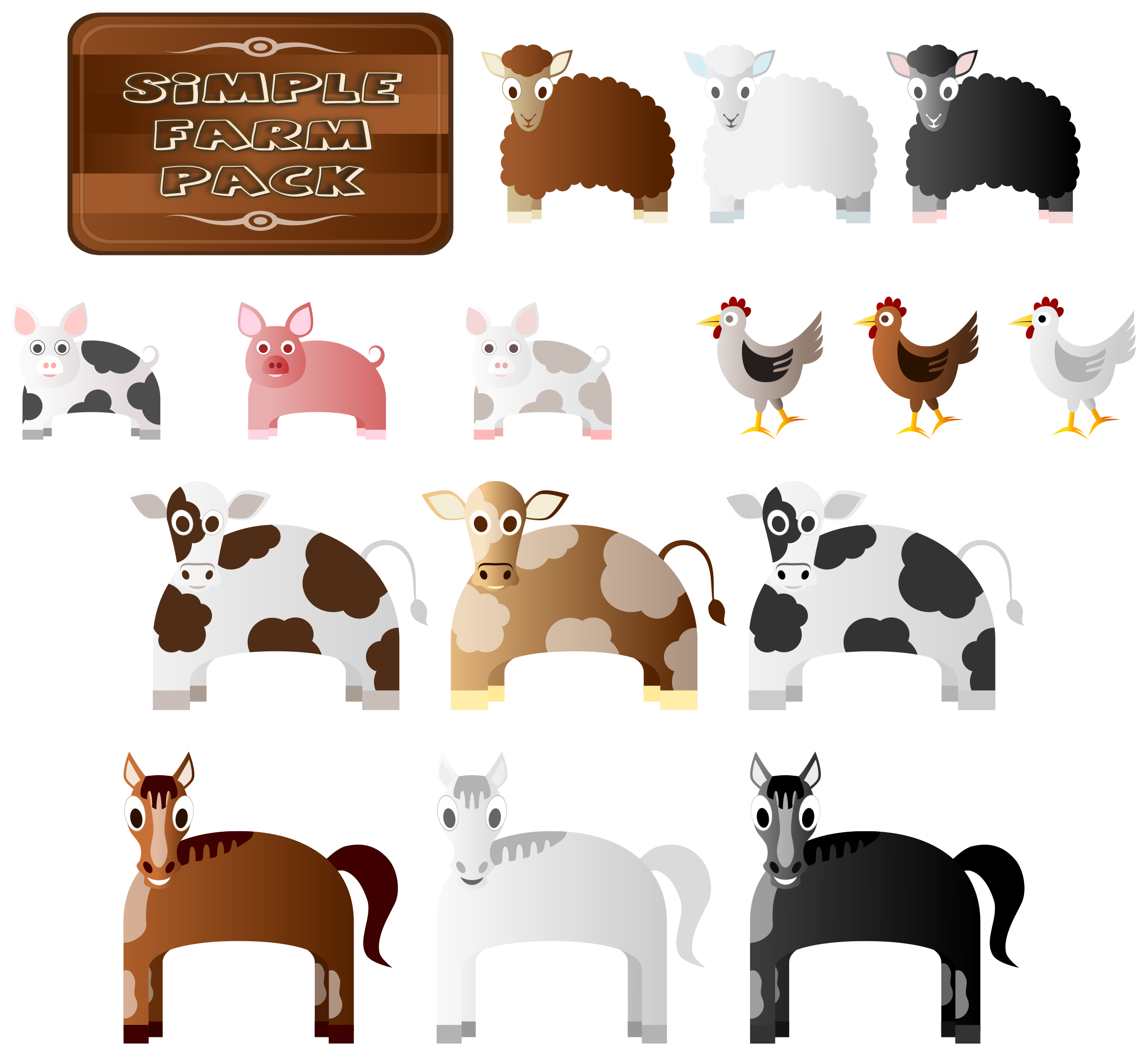 Simple farm animals big. Farmers clipart cattle farming