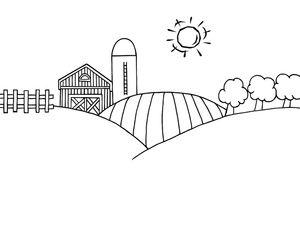 Farm clipart simple. Black and white cartoon