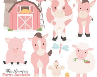 Barn clipart vector. Farm animals etsy premium