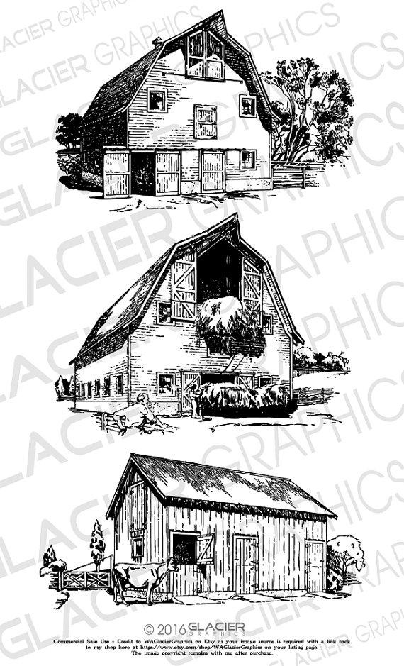 Barn clipart vector.  illustrations vintage copyright
