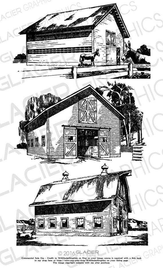 illustrations vintage copyright. Barn clipart vector