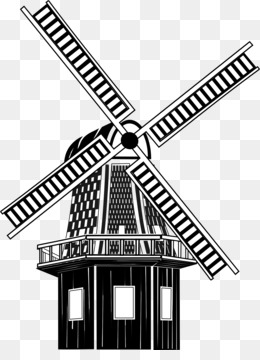 Agriculture farm wind turbine. Barn clipart windmill