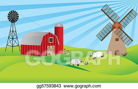 Barn clipart windmill. Vector art farmland with
