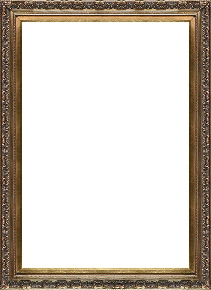 Baroque frame png. Antique gold x canvas