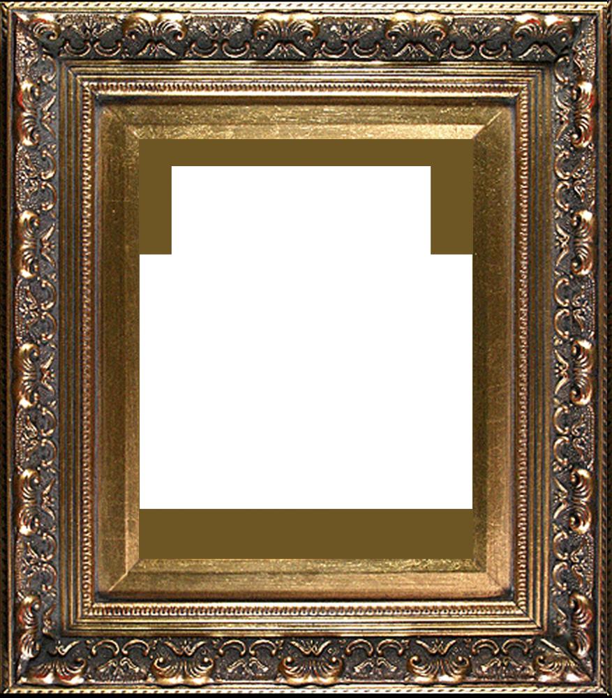 Antique gold canvas art. Baroque frame png