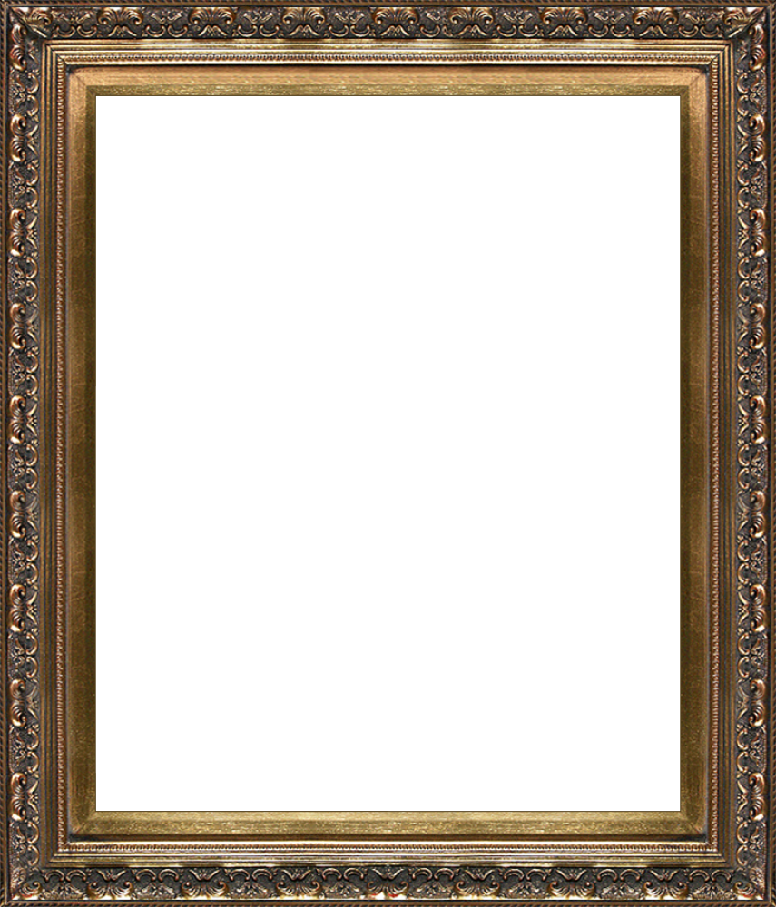 Baroque frame png. Antique gold canvas art
