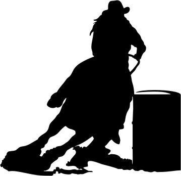 Racer silhouette vinyl window. Barrel clipart barrel racing